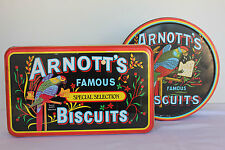 Two collectable Arnott's tins red black logo