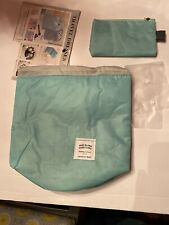 Cosmetic Make Up & Brushes Travel Bag Nylon Wind Blows River Flows Baby Blue!
