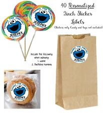 40 Cookie Monster Personalize STICKERS for Lollipop goody bag birthday favors