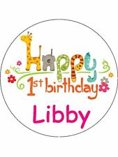 """7.5"""" 1st First Birthday Personalised Edible ICING Cake Topper Decoration"""