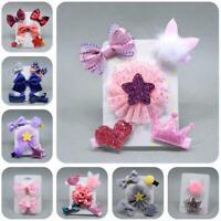 5 Pcs Set Baby Girls Bow Hair Clip Barrettes Flower Headdress Children T1Y5