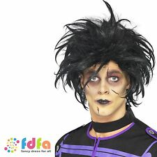 BLACK PSYCHO EDWARD SCISSORHANDS MESSY WIG - mens fancy dress halloween costume
