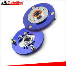 2pcs Coilover Pillow ball Camber Top Mounts Front Camber Plate for BMW E36 Blue