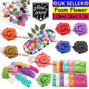 144Pcs Artificial Mini Foam Roses Flowers with stem Wedding Bouquet Decor UK