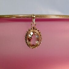 """1"""" Faceted Crystal  Oval 925 Sterling Silver Handmade Pendant"""