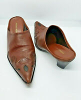 Antonio Melani size 7.5M Glove Fit women's Brown Leather Mule Heels Shoes  D74