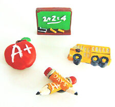 NEW (4) SCHOOL Teacher Student MAGNETS Refrigerator Bus Pencil Chalk Board Apple