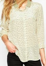 8916559251c117 NWT  189 MAISON SCOTCH Vintage Print Silk Top Taupe Cream Earth Tones