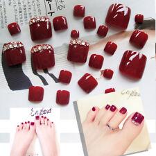 24Pcs Red Rhinestone Art Tips Full Cover False Toe Fake Nails Manicure Tools