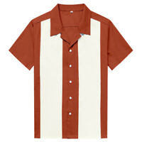 Men Western Shirt Short Sleeve Cotton Rockabilly Bowling Casual Shirts Sienna