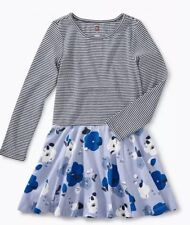 NWT Girl's TEA COLLECTION size 5 skirted dress stripe blue floral NEW