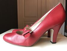 NEXT Ladies Women Red Designer Court High Heel Shoe Leather Sandal Size 7 41