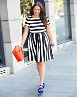 New Simply Be Stripe Monochrome Scuba Short Sleeve Skater Dress RRP £49 Size 14