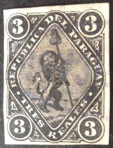 Paraguay 1870 3 r black stamp vfu