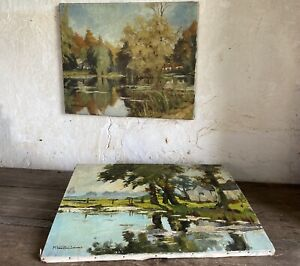 Pair Antique Oil Paintings. Landscapes Signed M VANGALLEBAERT. Early 20thC