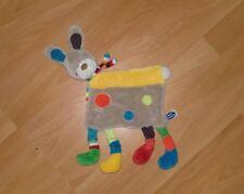 Doudou plat MOTS D'ENFANTS lapin chien NEUF avec cercles colorés, jaune & marron
