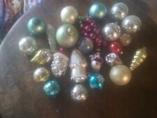 vintage chriatmas ornaments, mixed lot of 24-shiny bright, mercury glass, other