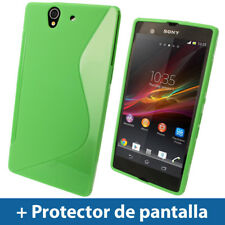 Green Dual Tone TPU Gel Case for Sony Xperia Z Android Cover Skin Holder Shell