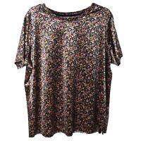 Women's Plus Size Top 1X Black Velvet Floral Tee Shirt Short Sleeve Scoop Neck