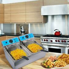 4000w 16l Electric Deep Fryer French Fry Bar Double Tank With Temperature Limite