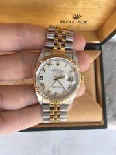 Mens Rolex Datejust 18K Ivory Pyramid Roman Dial 16233 No Holes w/Box NO STRETCH