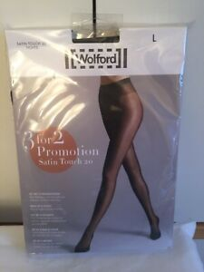 Wolford Satin Touch 20 Tights  3 for 2 promotion pack in Large in Nearly Black/