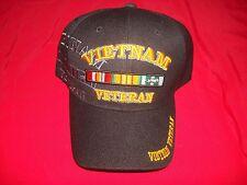 VIETNAM VETERAN Embroidered Insignia Black Cotton Hat