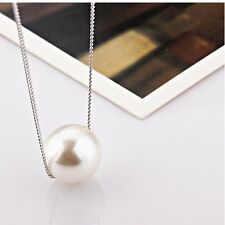 PEARL BALL PENDANT NECKLACE RHODIUM PLATED 16 IN CHAIN FASHION EVERYDAY NECKLACE
