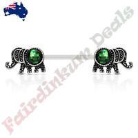 b95a4a21f8eccf Elephant with Dark Green Opal Glitter Set 316L Surgical Steel Nipple  Barbells