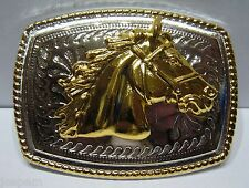 Small Oblong Golden Horses Head Belt Buckle Country Western Cowboy 3D Finish New