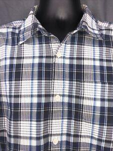 Patagonia Men's short sleeve shirt M blue, black, white plaid, organic cotton