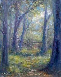 "Original Impressionist Landscape Oil Painting ""Forest Path"" by S, Prather"