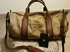 Frye Overnight  Duffle Gym/Travel Bag Waxed Khaki Canvas/Brown leather