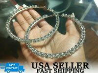 3.5 Inch Crystal Hoop Large Earrings Swarovski Stone Silver Gold Wives Hip Hop