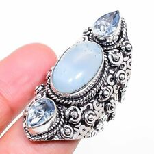 Chalcedony, Blue Topaz Ethnic Gemstone Handmade Gift Jewelry Ring Size 7 R823