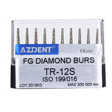 10PCS Diamond Burs Dental Super Coarse 45,000RPM F/High Speed Handlpiece TR-12S