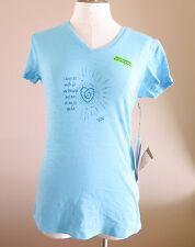 Trust Your Journey Women's Blue V-Neck Knit Shirt Laugh M NWT