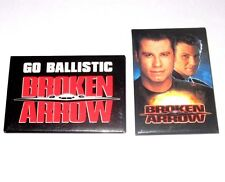 1996 BROKEN ARROW MOVIE PROMO PIN SET - JOHN WOO TRAVOLTA STEALTH BOMBER BUTTON