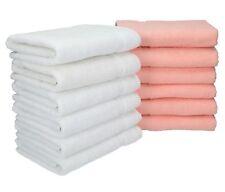 Lot de 12 serviettes Palermo couleur blanc et abricot, qualité 360 g/m², 12 serv