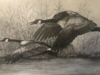 1982 Dot Walter Limted Editon Pencil Signed Print 6/200 Flying Geese Birds