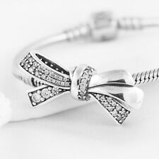 Bowknot S925 European silver charm pendant bead For silver bracelet Chain bangle