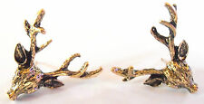 Bronze Vintage Stag Deer Head Womens Fashion Earrings Farm Hunting Theme Jewelle