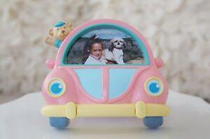 Vintage Teddy Bear in Pink Bug Car Picture Frame Children Kids Photo Frame