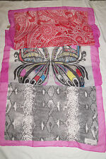 Codello XXL Schal gemustert Schlange Schmetterling rot grau pink ca 1,95*0,73m