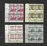 US Precancels: Lines Only; Prom. Amer. & Americana; MNH; Zip Blocks/4; 4 Diff.