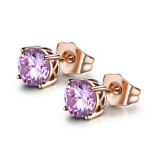 HUCHE Cute Pink Diamond Crystal Rose Gold Filled Stud Lady Daily Party Earrings