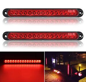 "2X 10"" 15 LED Red Sealed Trailer Truck Lorry Stop Tail Rear Turn Brake Light Bar"