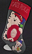 "Prima Creations Cats Rule Christmas Pet Stocking 18"" x 8"" Add Photograph"