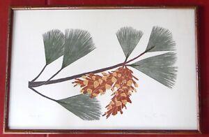 "Mid Century Henry Evans Signed Color Print ""Pine"" 1977 Framed Art Home Decor"
