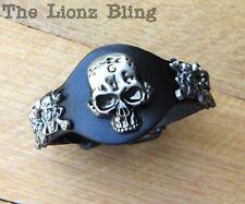 Urban Biker Bracelet Genuine Black Leather riveted Mechanic Wrench Skulls